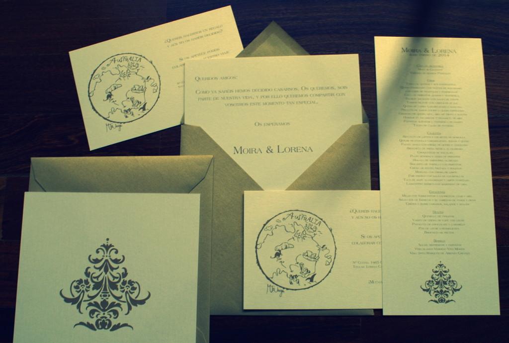 Invitaciones de boda con estilo moderno en papel blanco con brillo y sobres a medida color cobre