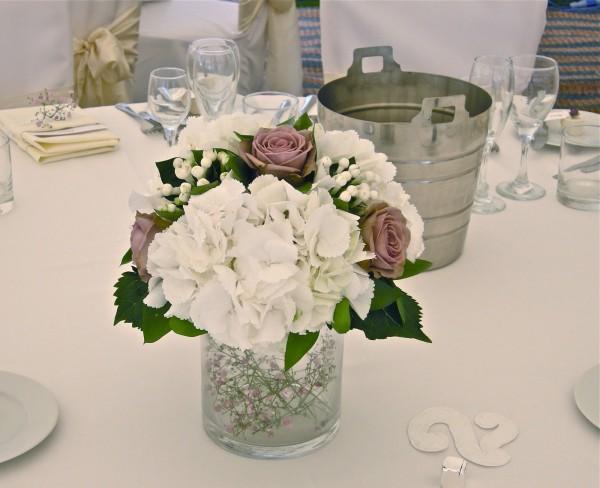 hortensias, centros de flor para bodas