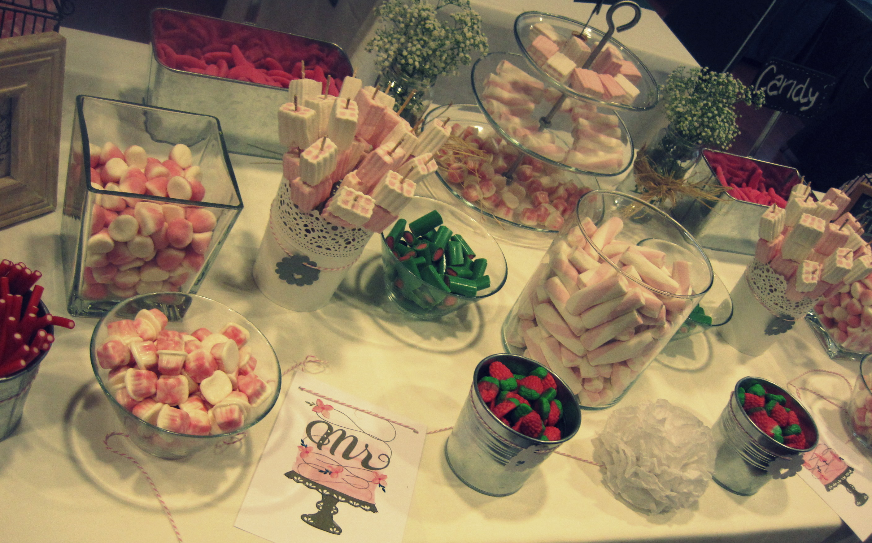 candy at a buffet wedding vintage